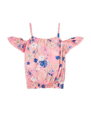top met all over print roze/blauw/wit