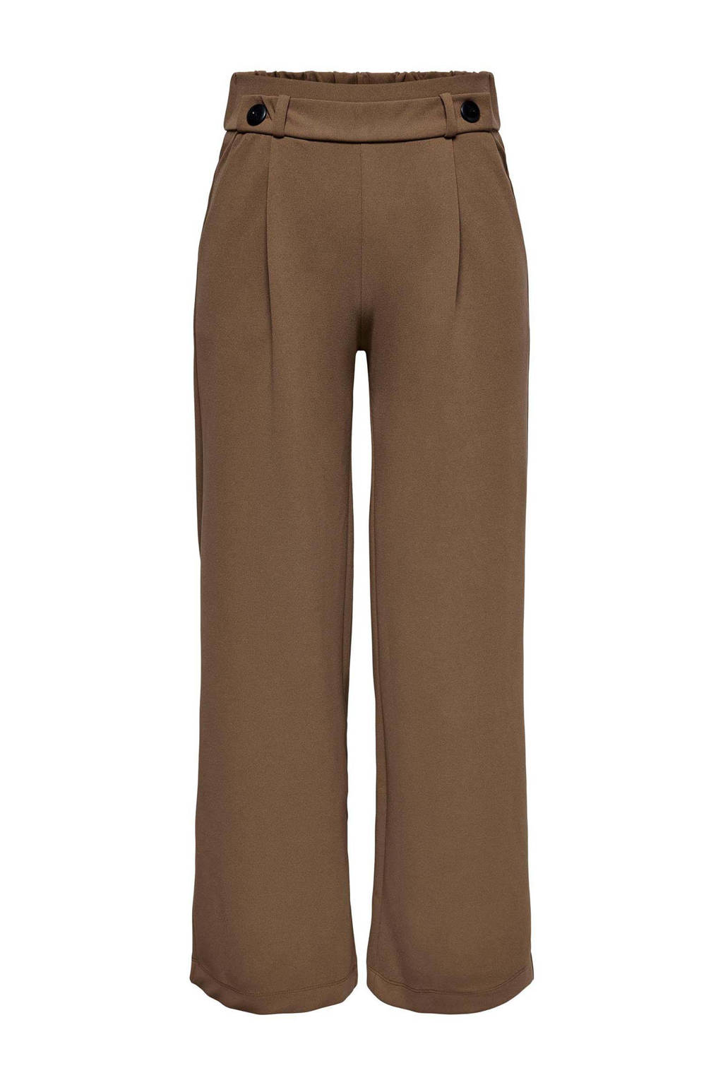JDY cropped high waist loose fit palazzo broek JDYGEGGO bruin, Bruin