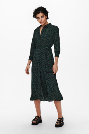 gebloemde blousejurk JDYPIPER donkergroen/zwart