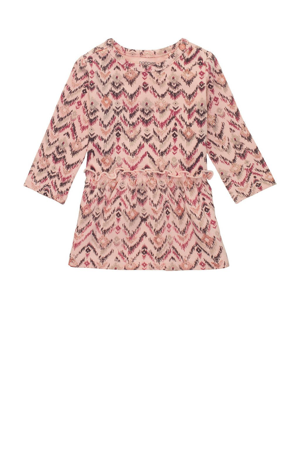 Noppies baby jurk Savannah met all over print en ruches lichtroze, Lichtroze