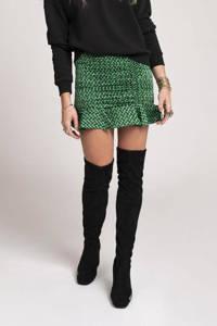 NIKKIE mini rok Future N met grafische print en volant groen/ zwart, Groen/ zwart