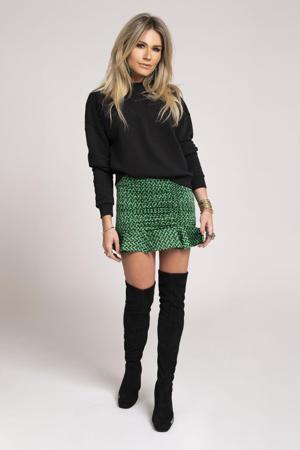 mini rok Future N met grafische print en volant groen/ zwart