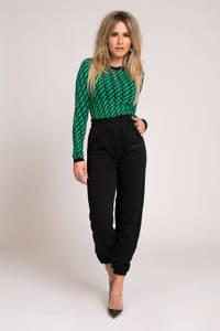 NIKKIE fijngebreide trui Pia met all over print groen/ zwart, Groen/ zwart