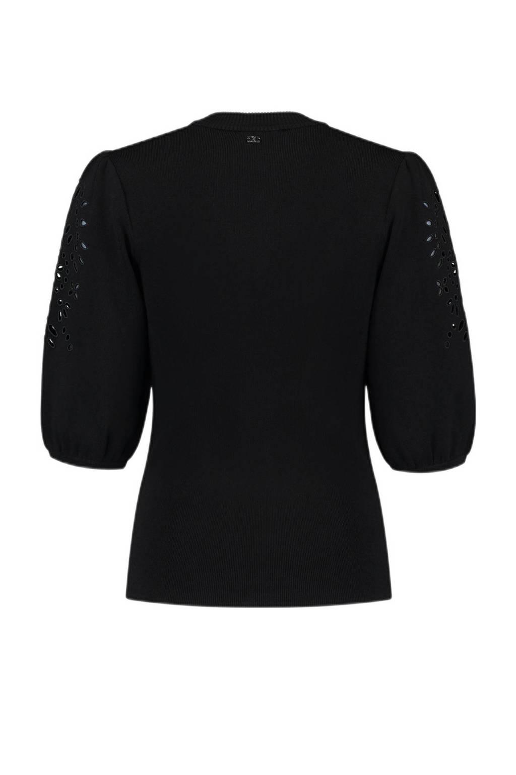 NIKKIE top Polette met open detail zwart, Zwart