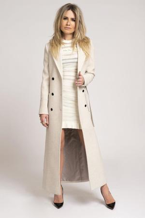 coat Adine met wol ecru