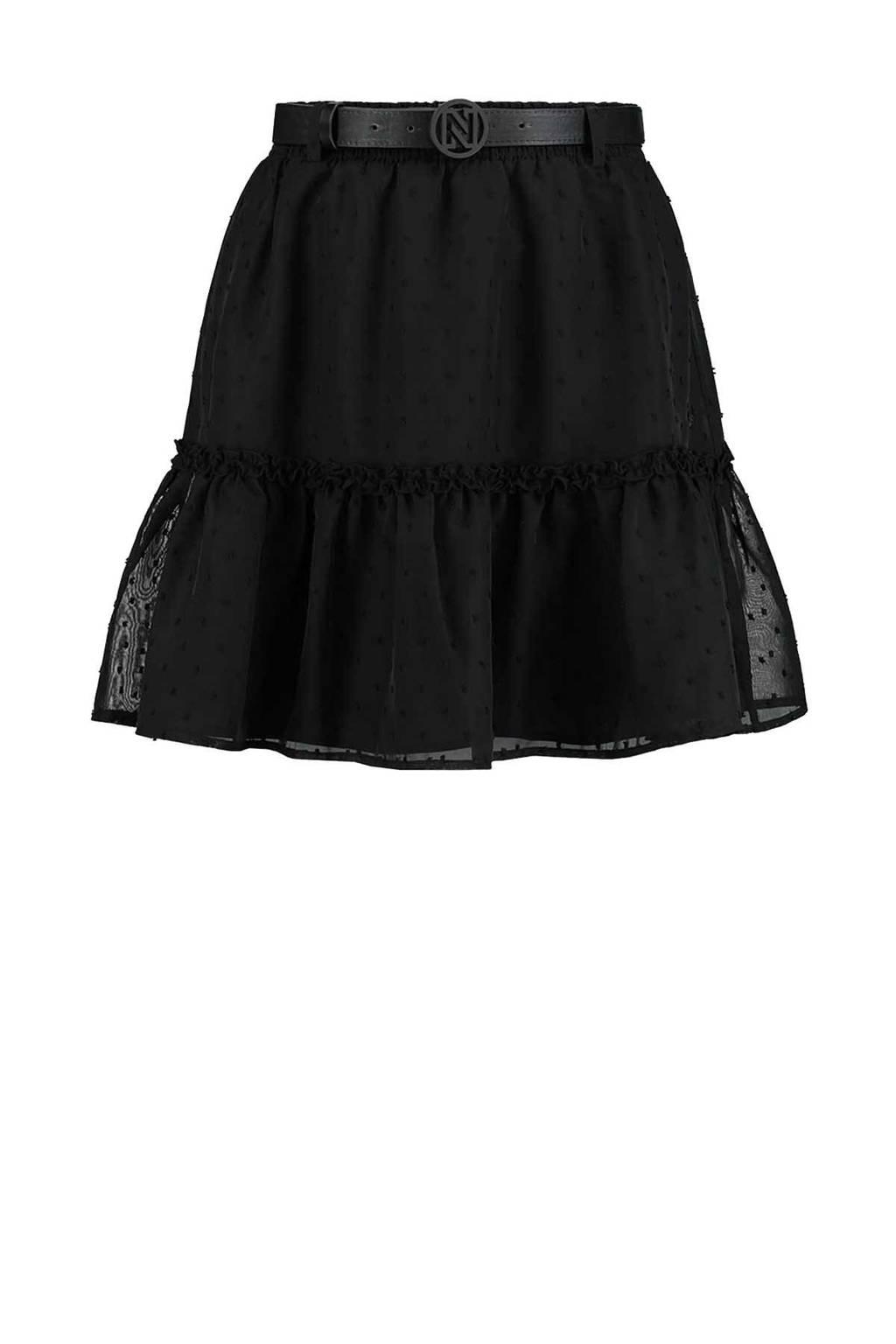 NIKKIE semi-transparante mini rok Fancy Dot met stippen en ruches zwart, Zwart