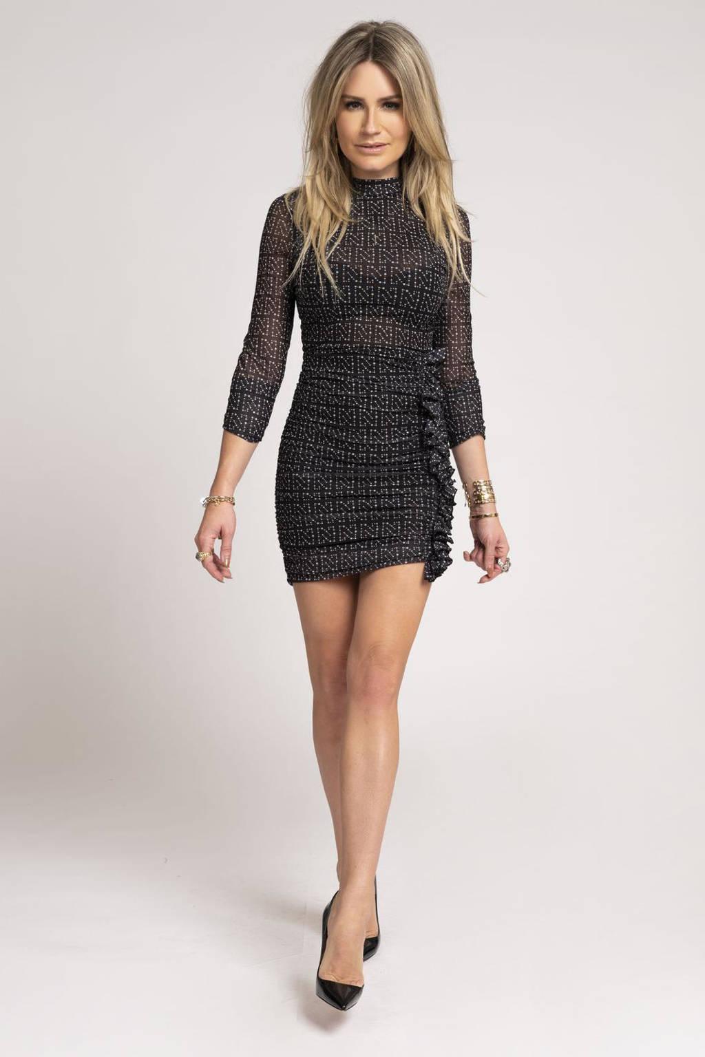 NIKKIE semi-transparante jurk N Dot met logo en volant zwart, Zwart
