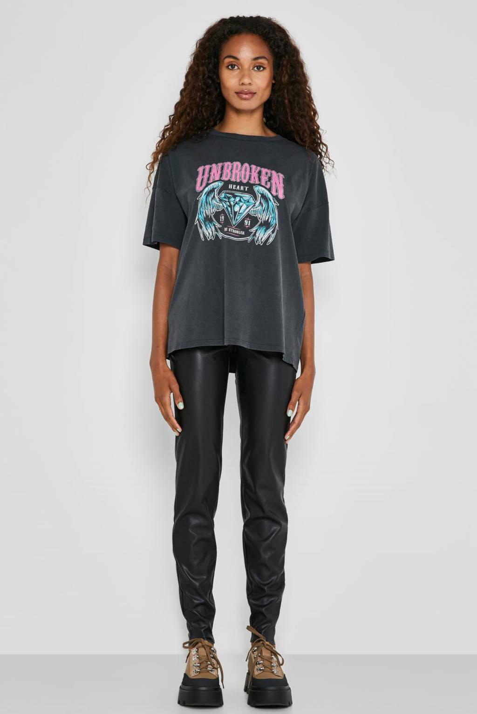 NOISY MAY T-shirt NMIDA met printopdruk antraciet, Antraciet