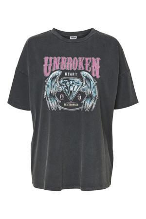 T-shirt NMIDA met printopdruk antraciet