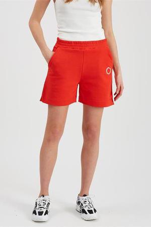 straight fit korte broek Savesina met borduursels rood