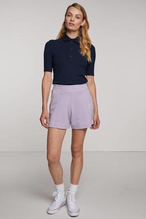 straight fit korte broek Savesina met borduursels lila