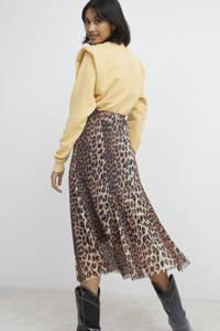 Catwalk Junkie semi-transparante rok Wild Leopard van gerecycled polyester bruin/ zwart, Bruin/ zwart