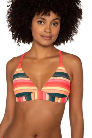 gestreepte triangel bikini Superbel roze/petrol