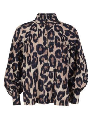 geweven blouse met panterprint en plooien bruin Leopard