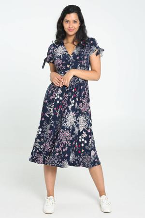 gebloemde jurk donkerblauw/roze/rood/ecru