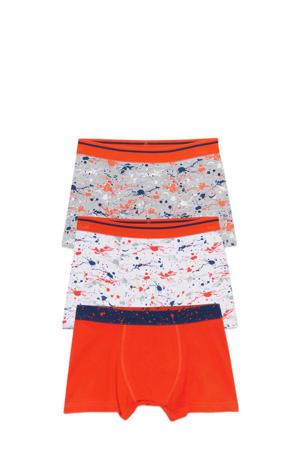 boxershort - set van 3 rood/grijs/blauw