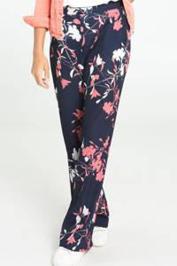 Cassis gebloemde wide leg palazzo broek donkerblauw/roze/ecru, Donkerblauw/roze/ecru