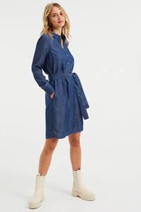 WE Fashion blousejurk met ceintuur donkerblauw, Donkerblauw