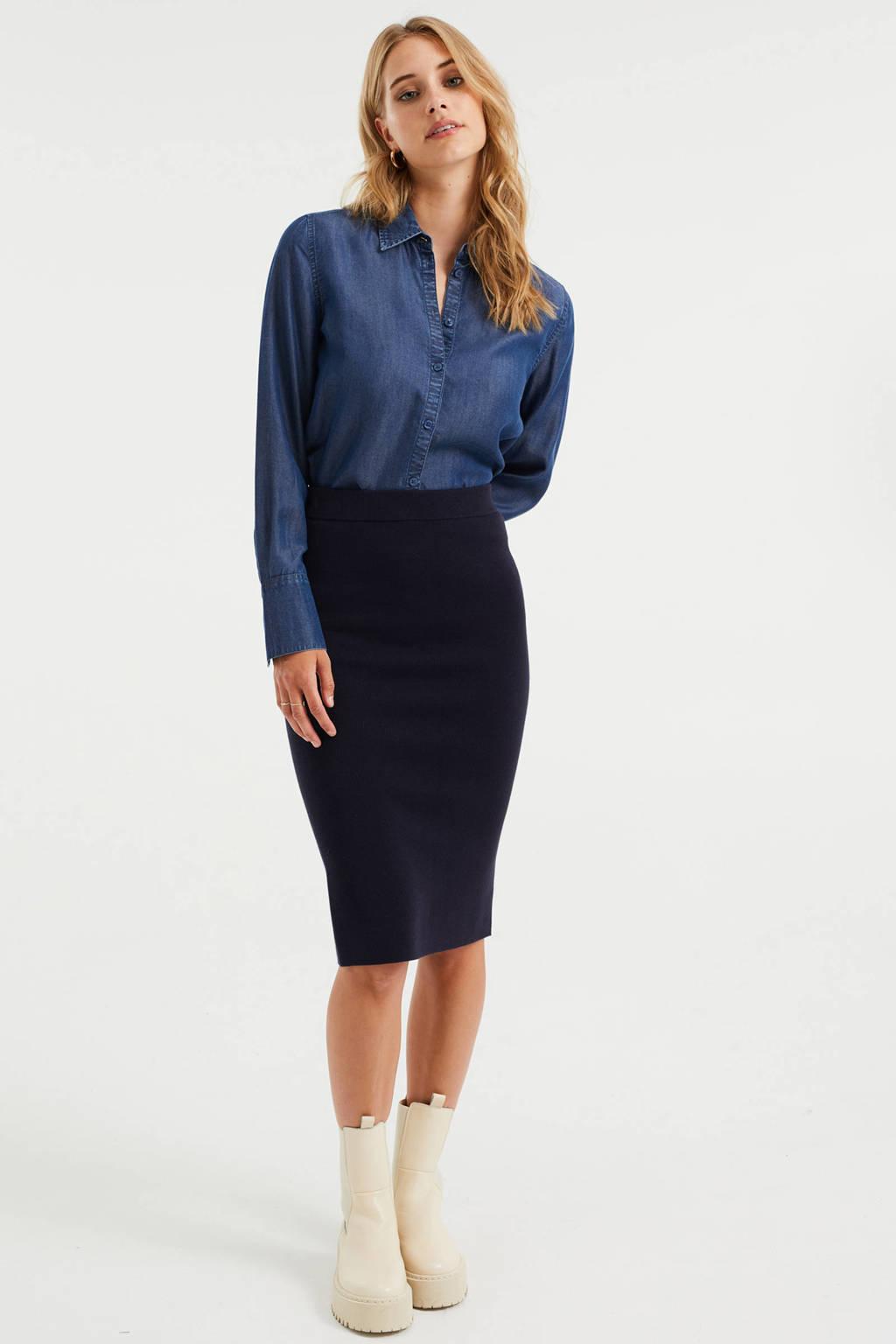 WE Fashion blouse donkerblauw, Donkerblauw