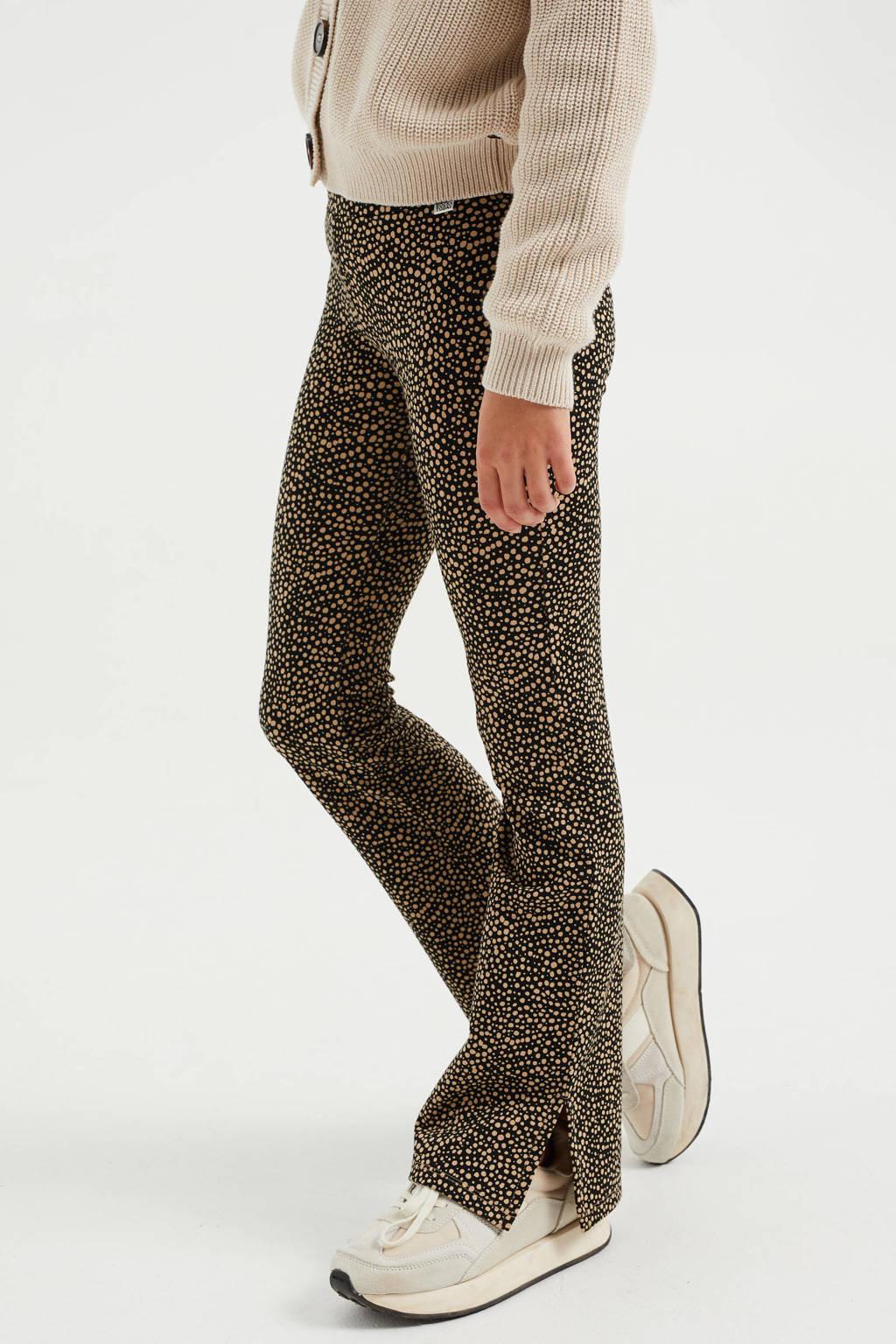 WE Fashion flared broek met dierenprint sahara, Sahara