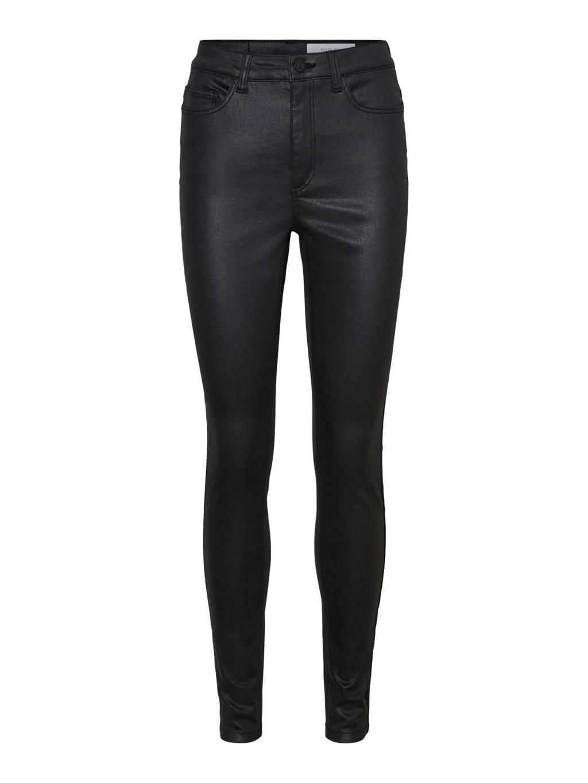 NOISY MAY coated high waist slim fit broek NMCALLIE zwart, Zwart
