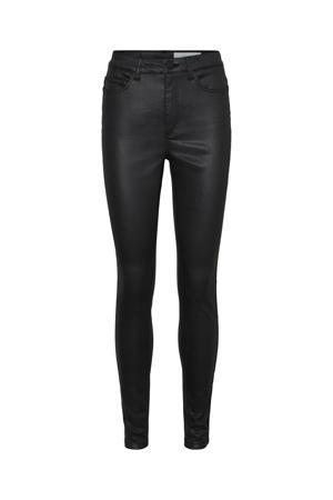 coated high waist slim fit broek NMCALLIE zwart