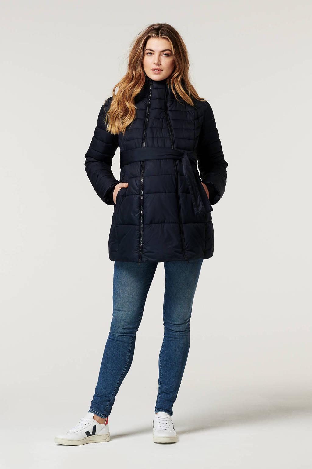 Noppies gewatteerde zwangerschapsjas winter/draagjas Bradford met ceintuur donkerblauw, Donkerblauw