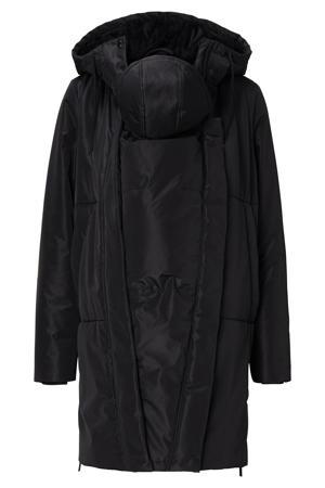 gewatteerde zwangerschapsjas winter/draagjas Gridley van gerecycled polyester zwart