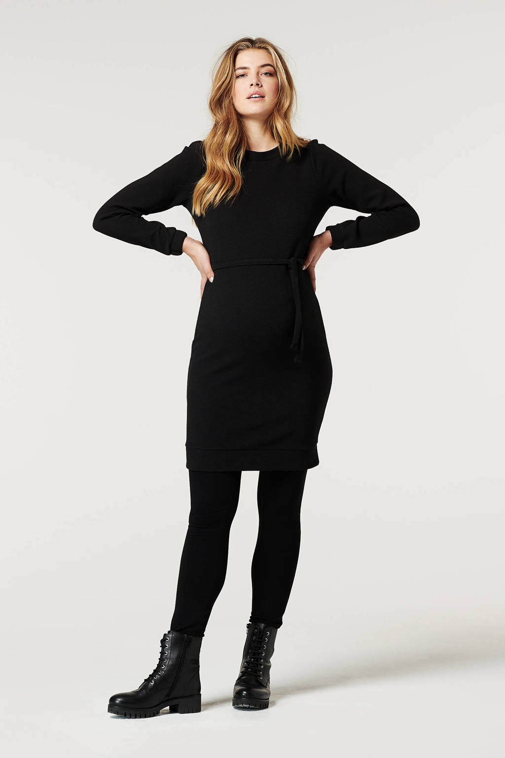 Noppies zwangerschapsjurk Granby met ceintuur zwart, Zwart