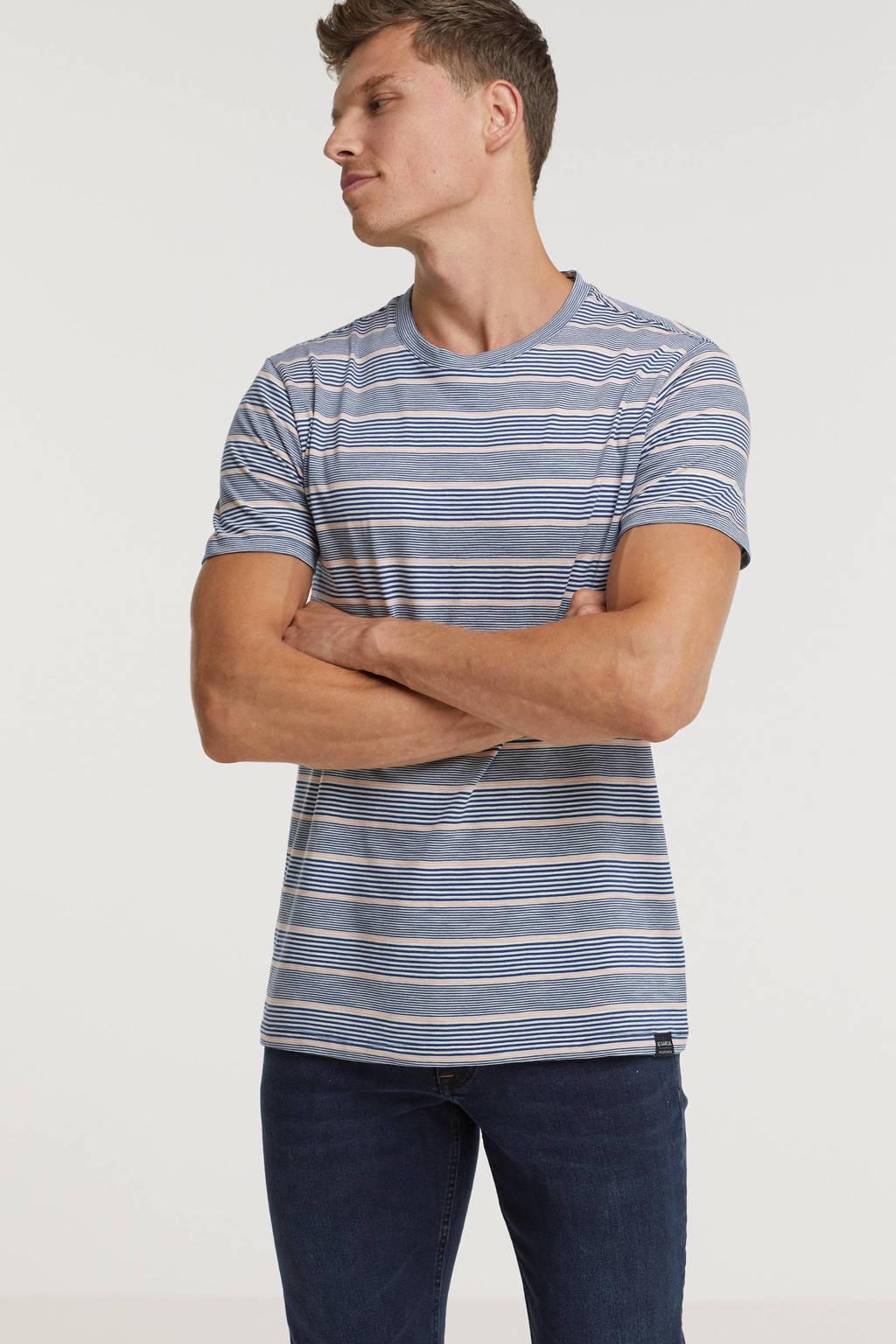 Garcia gestreept T-shirt blauw/roze, Blauw/roze