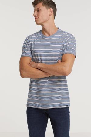 gestreept T-shirt blauw/roze