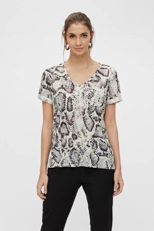 T-shirt OBJTESSI met slangenprint ecru/zwart
