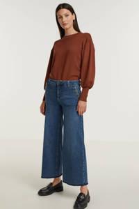 Mos Mosh cropped high waist wide leg jeans Reem Vera blauw, Blauw