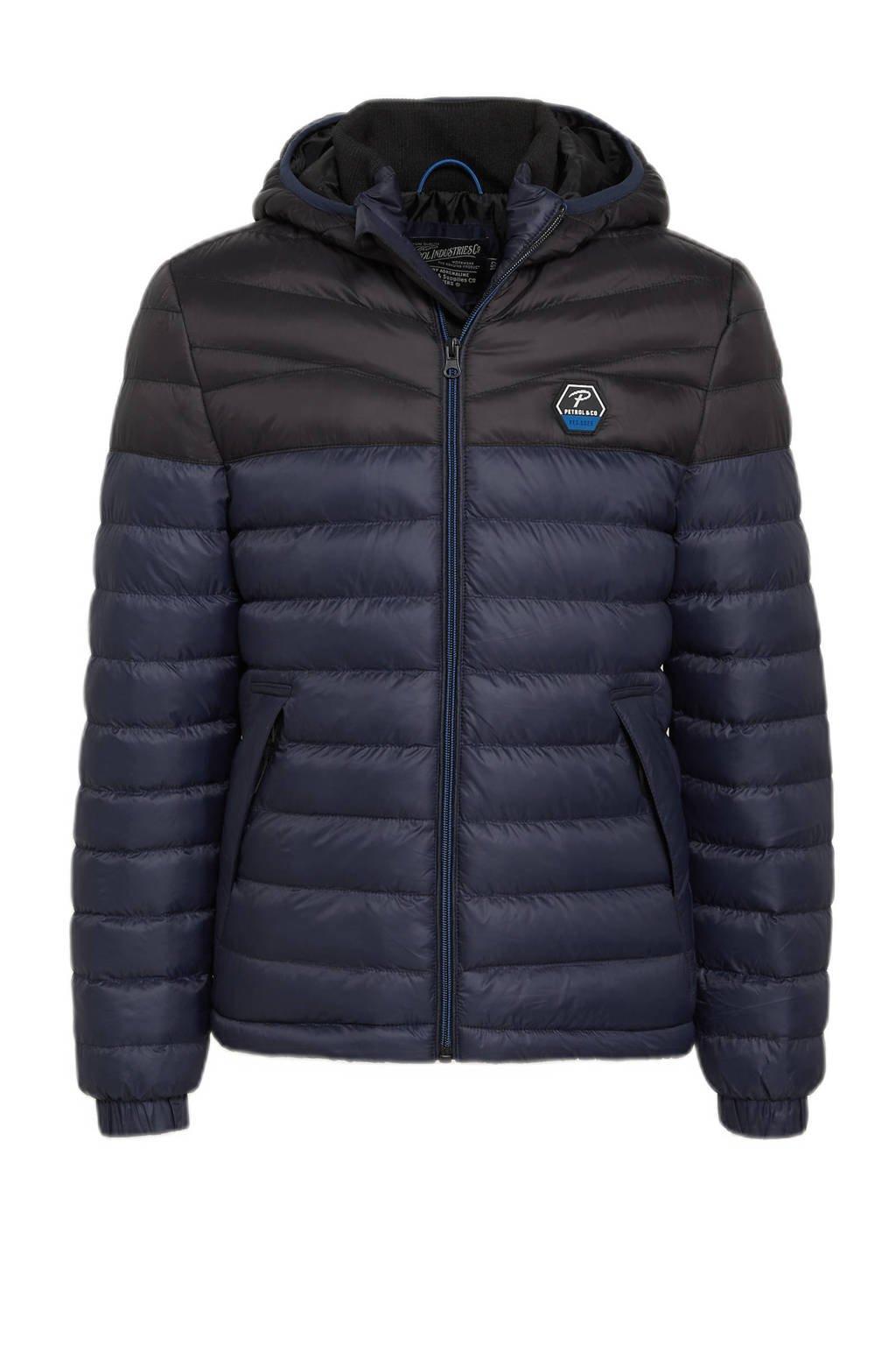 Petrol Industries gewatteerde winterjas donkerblauw/zwart, Donkerblauw/zwart