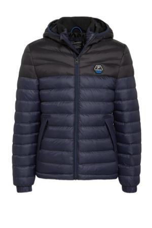 gewatteerde winterjas donkerblauw/zwart
