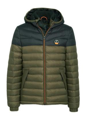 gewatteerde winterjas donkergroen/donkerblauw