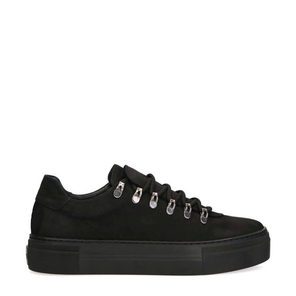 Manfield   nubuck sneakers zwart, Zwart