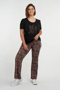 MS Mode shirt met tekst en borduursels zwart/oranje/fuchsia, Zwart/oranje/fuchsia
