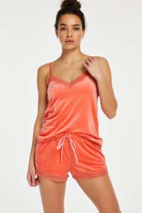 Hunkemöller velours pyjamatop oranje, Oranje