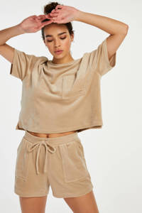 Hunkemöller velours pyjamashort beige, Beige