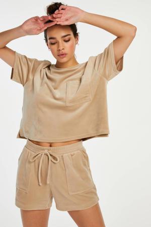 velours pyjamashort beige