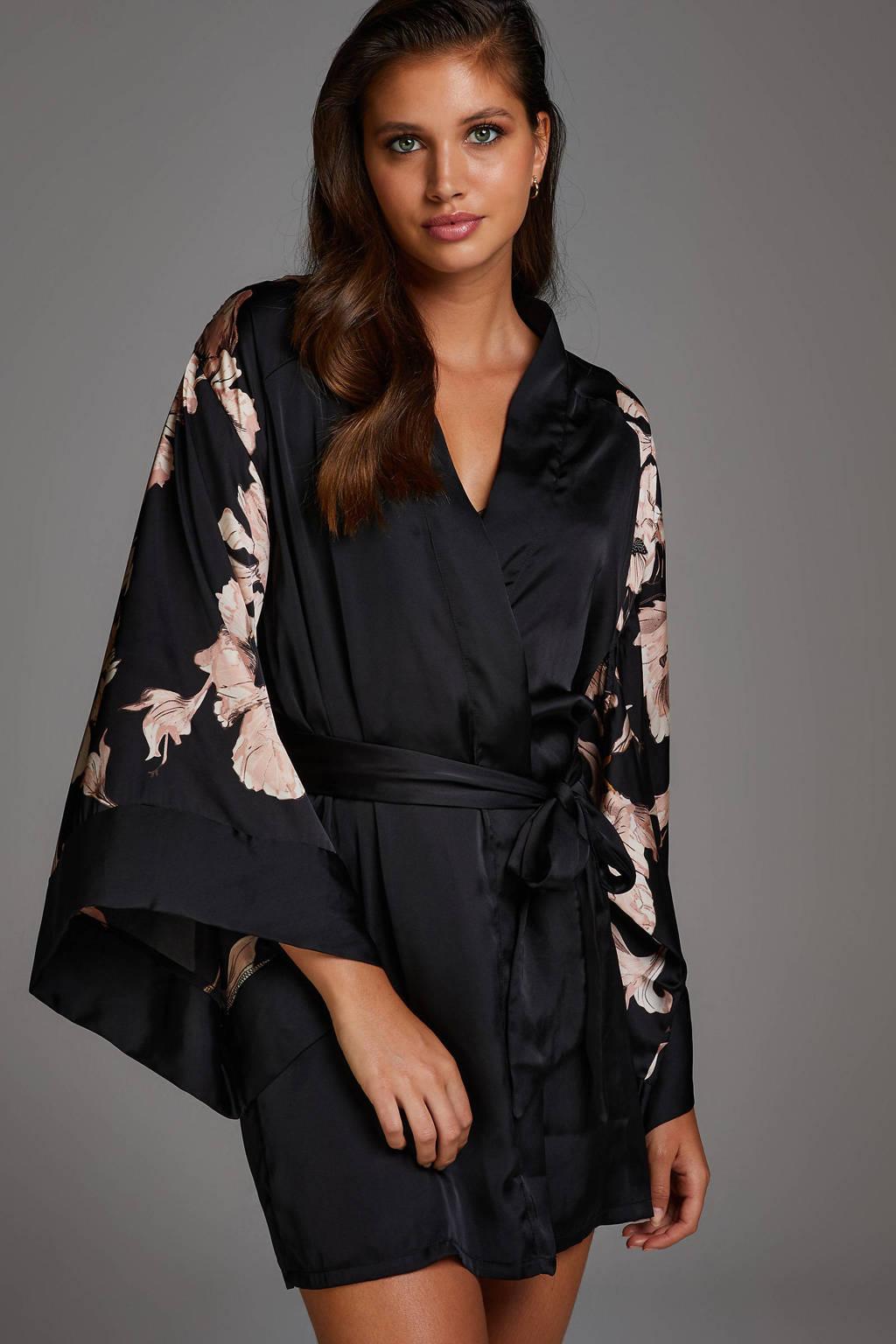 Hunkemöller Noir satijnlook kimono met bloemen zwart/roze, Zwart