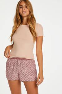 Hunkemöller pyjamashort met all over print roze, Roze