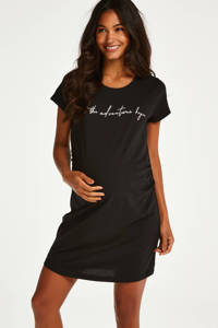 Hunkemöller zwangerschapsnachthemd met printopdruk zwart, Zwart