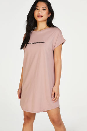 nachthemd met printopdruk oudroze