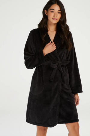 fleece badjas zwart
