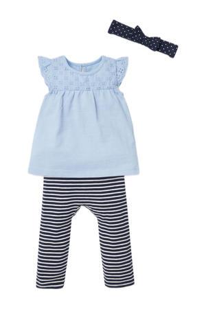 baby jurk + legging en haarband lichtblauw/donkerblauw/wit