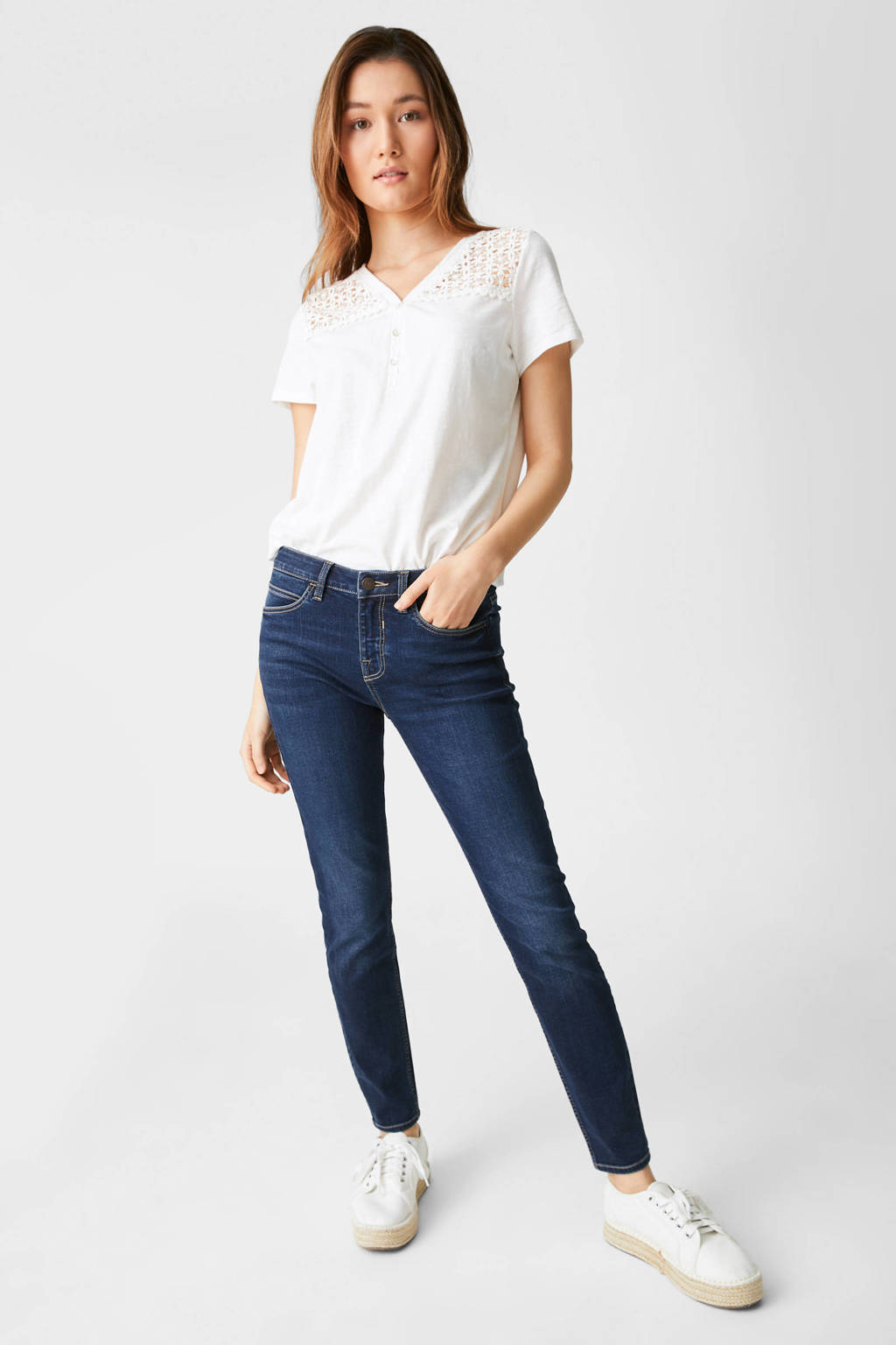 C&A The Denim cropped skinny jeans dark denim, Dark denim