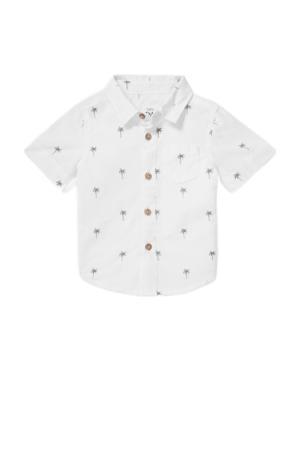 baby overhemd met all over print ecru