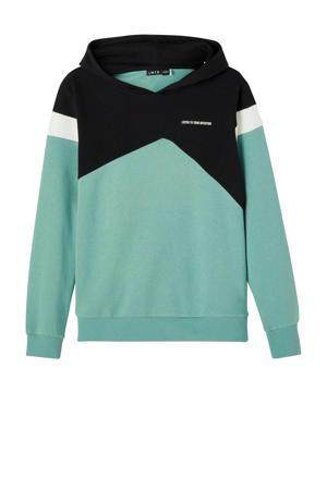 hoodie Lasse mintgroen/zwart/wit